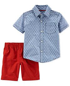 Carter's 2-Pc. Printed Cotton Shirt & Shorts Set, Toddler Boys