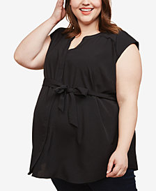 Motherhood Maternity Plus Size Split-Neck Blouse