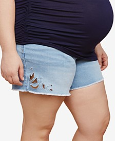 Plus Size Embroidered Denim Shorts