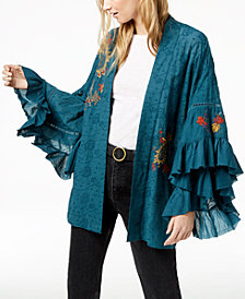 Free People Dottie West Embroidered Ruffled Kimono