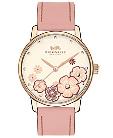 COACH Women's Grand Blush Leather Strap Watch 36mm
