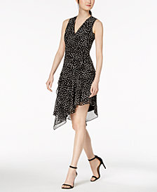 Anne Klein Printed Asymmetrical-Hem Dress