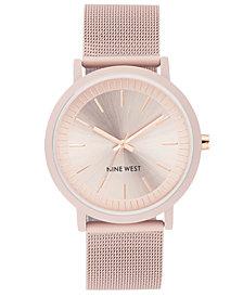 Nine West Women's Pink Rubberized Stainless Steel Mesh Bracelet Watch 40mm
