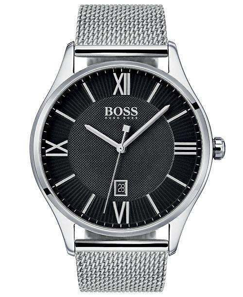 7d958199aa ... BOSS Hugo Boss Men's Governor Master Stainless Steel Mesh Bracelet Watch  ...