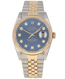 Pre-Owned Rolex Men's Swiss Automatic Datejust Jubilee Diamond (1/8 ct. t.w.) 18K Gold & Stainless Steel Bracelet Watch 36mm