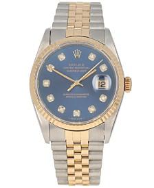 Pre-Owned Rolex Men's Swiss Automatic Datejust Jubilee Diamond (1/8 ct. t.w.) 18K Gold & Stainless Steel Bracelet Watch 36mm