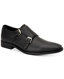 Calvin Klein Men's Robbie Tumbled Leather Monk-Strap Loafers