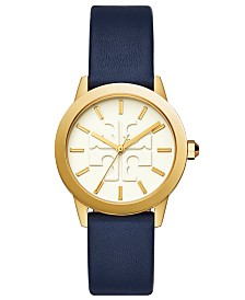 Tory Burch Women's Gigi Navy Leather Strap Watch 36mm