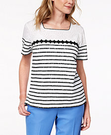Alfred Dunner Petite Burnout Striped-Lace Top