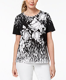 Alfred Dunner Barcelona Printed Lattice-Neck Top
