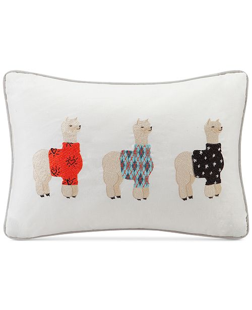 "HipStyle Sweater Weather 14"" x 20"" Alpaca Embroidered Oblong Decorative Pillow"