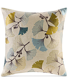 "Madison Park Gingko Bloom 20"" Square Embroidered Decorative Pillow"