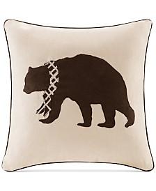 """Madison Park Faux-Suede Bear Appliqué 20"""" Square Decorative Pillow"""