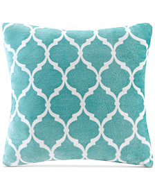 "Madison Park 20"" Square Ogee-Print Microlight Plush Decorative Pillow"