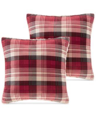 "Tasha Reversible Plaid Softspun to Berber 18"" Square Pair of Decorative Pillows"