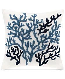 """Beach House Embroidered 18"""" Square Decorative Pillow"""