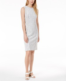 525 America Petite Striped Sheath Dress, Created for Macy's