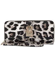 GUESS Britta Leopard Large Zip Around Wallet
