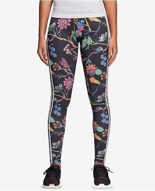370a798c3a7 adidas Garden Print 3-Stripe Leggings & Reviews - Pants & Capris ...