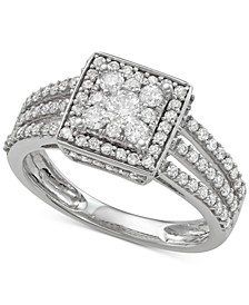 Diamond Square Cluster Three-Row Engagement Ring (1 ct. t.w.) in 14k White Gold