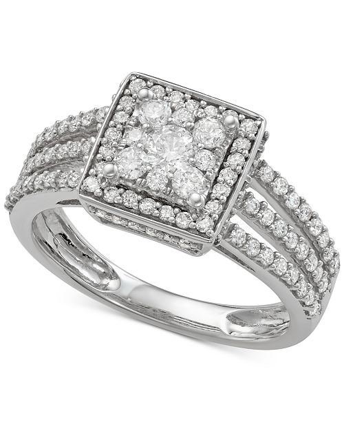 Macy's Diamond Square Cluster Three-Row Engagement Ring (1 ct. t.w.) in 14k White Gold