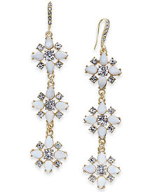 I.N.C Gold-Tone Stone & Crystal Triple Cluster Linear Drop Earrings, Created for Macy's