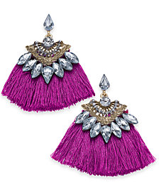 I.N.C. Gold-Tone Crystal & Fan Drop Earrings, Created for Macy's