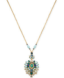 "I.N.C. Gold-Tone Multi-Stone 33"" Pendant Necklace, Created for Macy's"