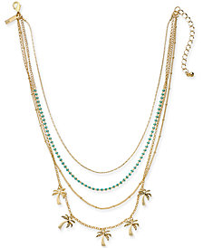 "I.N.C. Gold-Tone Bead & Palm Tree Layered Necklace, 15"" + 3"" extender, Created for Macy's"