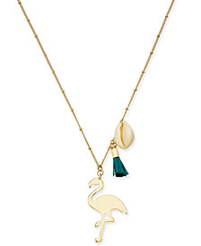 "I.N.C. Gold-Tone Flamingo Pendant Necklace, 30"" + 3"" extender, Created for Macy's"