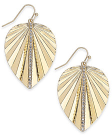Thalia Sodi Gold-Tone Crystal Palm Leaf Drop Earrings, Created for Macy's