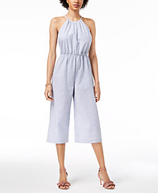Maison Jules Seersucker Jumpsuit, Created for Macy's