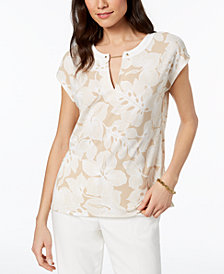 Tommy Hilfiger Printed Chain-Neck Top, Created for Macy's
