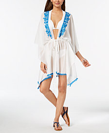 I.N.C. Embroidered Drawstring Kimono Cover-Up, Created for Macy's