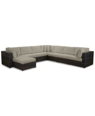 Viewport Outdoor 8-Pc. Modular Seating Set (3 Corner Units, 4 Armless Units and 1 Ottoman), with Sunbrella® Cushions, Created for Macy's