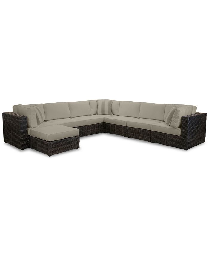 Furniture - Viewport Outdoor 8-Pc. Modular Seating Set (3 Corner Units, 4 Armless Units and 1 Ottoman)