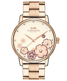 COACH Women's Grand Carnation Gold-Tone Stainless Steel Bracelet Watch 36mm