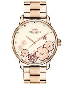 COACH Women's Grand Carnation Gold-Tone Stainless Steel Bracelet Watch 36mm