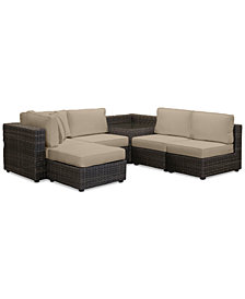 Viewport Outdoor 6-Pc. Modular Seating Set (3 Armless Units, 1 Corner Unit, 1 Corner Table and 1 Ottoman) with Custom Sunbrella® Cushions, Created for Macy's