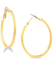 Charter Club Gold-Tone Etched Oval Hoop Earrings, Created for Macy's