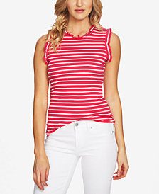CeCe Ruffled Striped Top