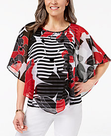 Alfred Dunner Petite Chiffon Popover Necklace Top