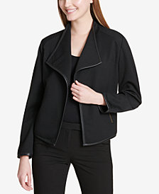 Calvin Klein Textured Faux-Leather-Trim Jacket