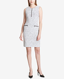 Calvin Klein Space-Dye Zip-Trim Sheath Dress