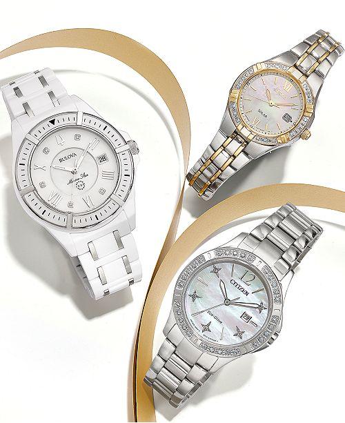3b8ce63d4191 ... Bulova Women s Marine Star Diamond-Accent White   Silver-Tone Ceramic  Bracelet Watch ...