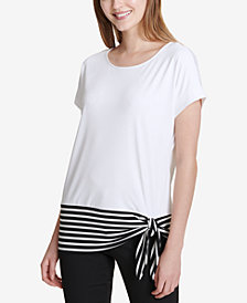 Calvin Klein Striped-Hem Side-Tie Top