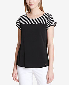 Calvin Klein Striped Colorblocked Contrast Blouse