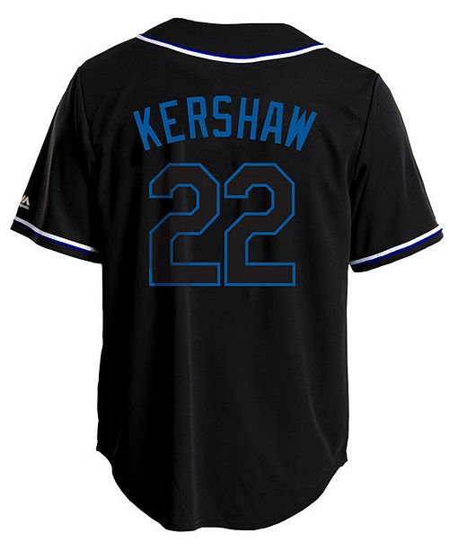 0956eb68fa2 ... Majestic Men s Clayton Kershaw Los Angeles Dodgers Pitch Black Jersey  ...