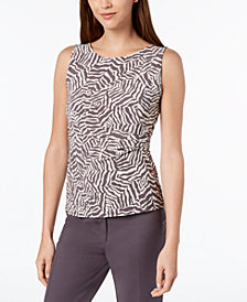 Anne Klein Printed Side-Pleat Top