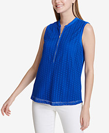 Calvin Klein Zip-Trim Mesh Top